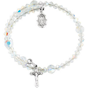 First Communion Austrian Crystal Wrap Rosary